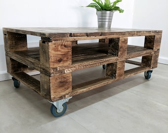 Industrial Pallet Coffee Table LEMMIK in Roast Coffee Finish made of Reclaimed Pallet Wood, Urban Jungle Table Jungalow Decor