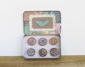 Rustic Clay Fridge Magnet Set of 6, Office Decor, Housewarming Gift - Ceramic Magnet Set