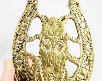 Fireside Trivet Vintage Brass Cat Trivet , Fireside Accessorie Trivet