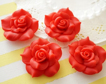 2 pcs Huge Polymer Clay Rose Cabochon (40mm) Red FL326