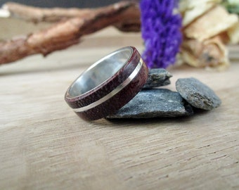 Mens Wood Ring, Silver Wedding Band , Wood Wedding Ring Inlay with Purpleheart