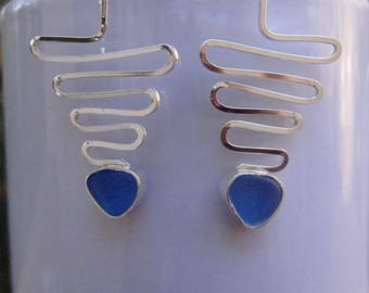 Sea Glass Earrings - Cornflower Blue Sea Glass and Sterling Silver Earrings