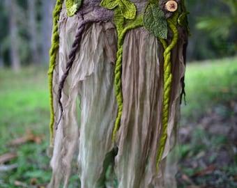 Nuno Felted Skirt-Pixie Belt-Woodland Costume-Nymph Skirt-Tree Out Fit-Fairy Leaf Silk Belt-Tu Tu-Skirt-Festival Wear-Burning Man OOAK