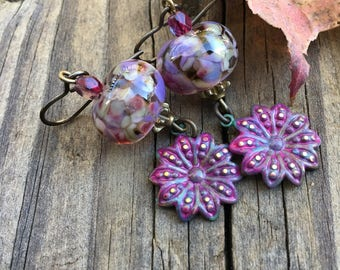 Bohemian Jewelry Handcrafted Lampwork Beads Fuchsia Burgundy Earrings Vintaj Flower Charm