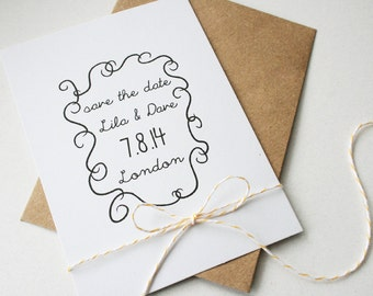 Wedding Save the Date in White/Kraft Brown -- The Garden Scrolls -- Customizable Set -- CHOOSE YOUR QUANTITY