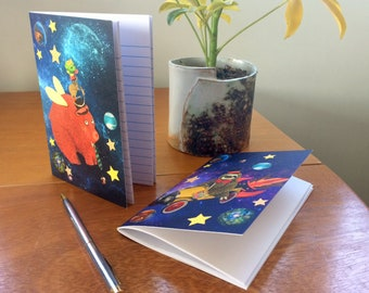 Two A6 Notebooks - Space Bear and Sloth