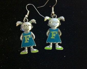 F Initial Charm Earrings - Earrings With Daughter's F Initial - Silver Girl F Initial Charm Earrings
