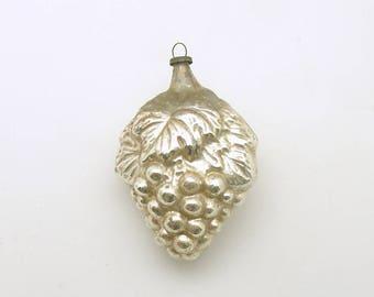 Vintage Christmas Ornament Silver Glass Grapes Christmas Decoration
