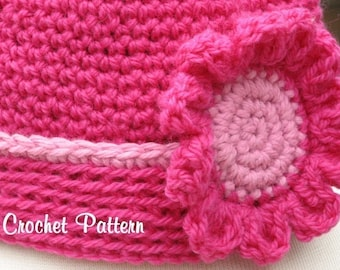 Rolled Edge Hat with Matching Flower Blossom Crochet Pattern Pdf, Instant Pattern Download Available