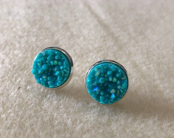 12mm blue  druzy earrings in silver settings