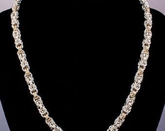 Byzantine Chain Maille Necklace, Byzantine Golden Link Necklace, Byzantine Weave, Sterling Silver Chain Maille Necklace, Chainmail Necklace