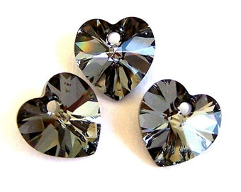 Crystal Silver Night heart pendants, 10mm, grey Swarovski crystal heart pendants, Qty 3
