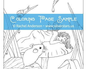 Sweet Dreams Sleeping Fairy Child Coloring Page Digi Stamp Printable Digital Download
