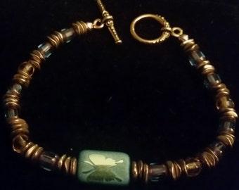 Gold Pewter Blue Butterfly Bracelet