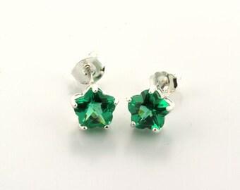 Sterling Silver Emerald Green Flower or Star Earrings