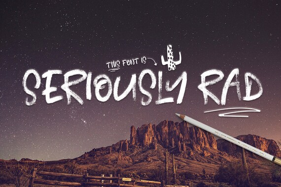 Digital Font Seriously Rad - Digital Typeface - Hand Painted Brush font - Instant Download