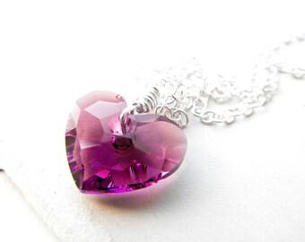 Amethyst Heart Necklace Swarovski Crystal Sterling Silver Pendant February Amethyst Birthstone Necklace