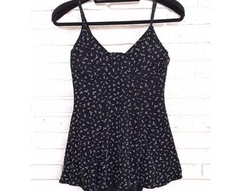 Vintage Womens 1980's Black Swimsuit One Piece Swim Dress Size Large 80's Bathing Suit