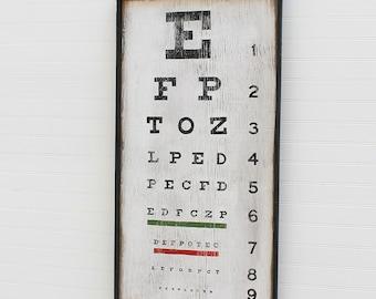 Eye Chart Sign Wall Art Retro Home Decor Optometrists Office Decor