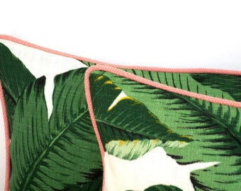 Palm leaf pillow cover tropical print, green outdoor pillow case Beverly Hills Decor, green and soft salmon outdoor cushion swaying palm