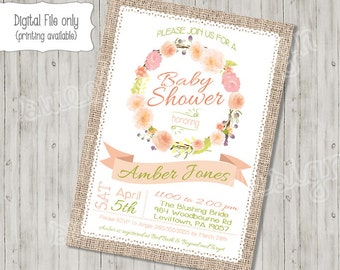 Tea baby shower invitation tea baby shower a baby is baby shower invitation spring summer floral green coral pink flower wreath printable invitation filmwisefo Image collections