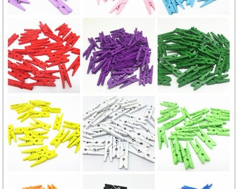 100pcs Wood Mini Clothespins Pegs Clothes Pins 25mm For Scrapbooking Stamping Photos' Hanging Wedding Decorations,12 Colors