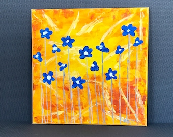 Violets are Blue - 12x12 inches - Original Acrylic Painting on Canvas