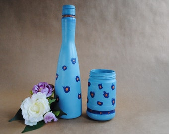 Jar - Blue jar and bottle set - by Jars in Bloom