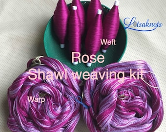 Rose Weaving Kit, Shawl kit, Weaving Loom Kit, How to Weave Kit, Loom Weaving, DIY Weaving Kit, Pre-wound Warp, Handweaving