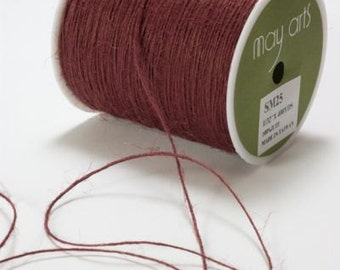 Burlap Cord String Burgundy Red - 400 YARD ROLL Jute Cord - May Arts Marsala #25 - Christmas Packaging / Twine / Thread / Craft Ribbon