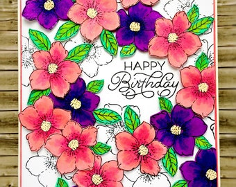 Handmade floral Birthday card - peach and purple flowers - dimensional greeting card - 3D card - stamping - striking card