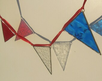 Red White and Blue Stained Glass Bunting
