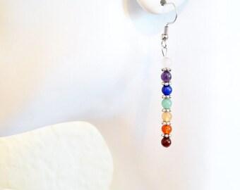 7 Chakras earrings, Heal stone jewelry,  Energy earrings, heal gemstone, balancing earrings, Linear earrings, Yoga Zen jewelry, Gift for her