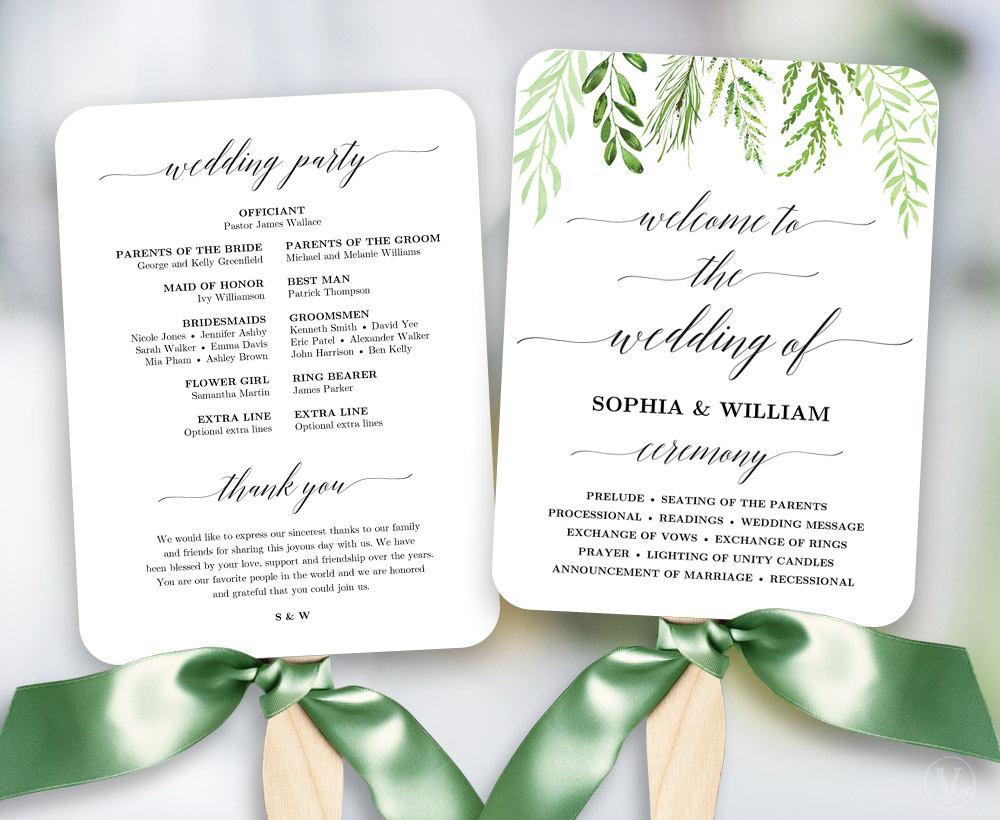 Greenery Wedding Fan Program Printable Wedding Fan Program