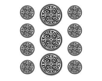 11 pc Filigree Fleur de Lys Metal Blazer Button Set Antique Silver Color