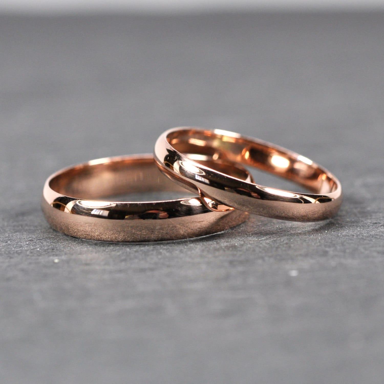 rose gold wedding band set solid 14k rose gold rings half. Black Bedroom Furniture Sets. Home Design Ideas