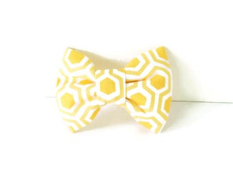 Yellow honeycomb bow tie, yellow dog bow tie, honeycomb cat bow tie, yellow and white flower