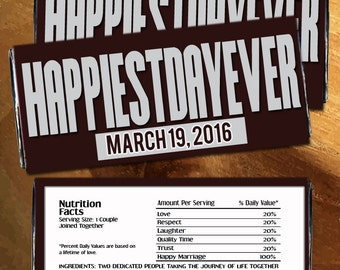 """Happiest Day Ever Custom Designed Candy Bar Wrappers for Hershey's Chocolates - For Additional Amounts Click the  """"Number of Labels"""" Tab"""