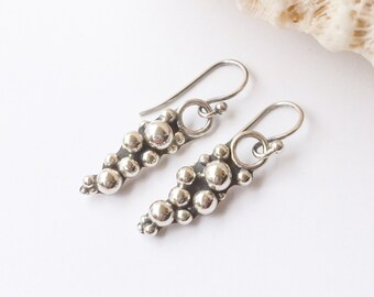 Sterling Silver Earrings, Solid Silver Ball Handcrafted Pebble Design Dangle Earrings, Boho Chic Artisan Silversmith Statement Earrings