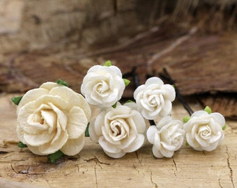 Ivory Rose Hairpins, Mulberry Paper Flower Hair Pins , Bridal Hair Pins, Hair Bobby Pins,Prom,Bridal Hair Accessories (FL370)