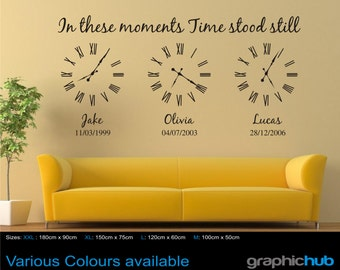 Personalised family wall art sticker, In these moments time stood still sticker decal