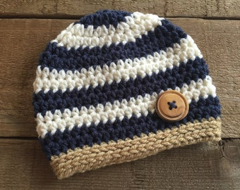 Striped beanie, crocheted beanie, layette, baby gift, baby boy accessory, crocheted baby hat