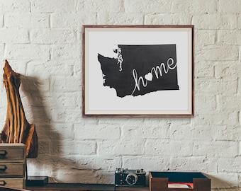 Washington Wall Art, Chalkboard Home Poster, State of Washington Typography Poster, Chalkboard Wall Decor , Printable Wall Art Poster