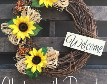 Sunflower Grapevine Fall Wreath Welcome Door Wreath - Rustic Country Shabby Chic Thanksgiving Fall Autumn Harvest Halloween Sunflower Wreath