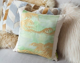 Japanese Pillow, Hokusai Wave Green Gold Cushion, Great Wave Art Decor, Gold Silk Cushion, Oriental Pillow, Vintage Silk Anniversary Gift
