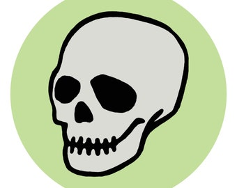 skull pin and sticker