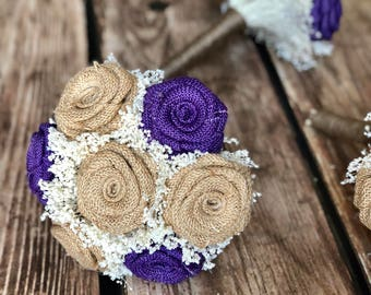 Purple & Natural Bridesmaids Bouquets (Choose Size) : Purple Bouquets, Burlap Wedding Bouquets, Burlap Bouquets, Purple Bridesmaids Bouquets