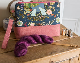 Project bag - a generously sized zipped pouch with detachable wristlet, perfect for knit, crochet or sewing projects, make up or toiletries