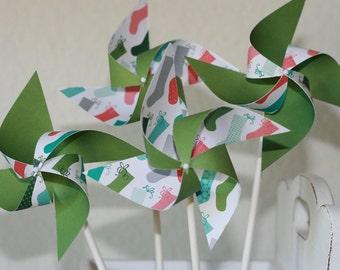 Holiday Party favor Pinwheels  -12 Mini Pinwheels (Custom orders welcomed)