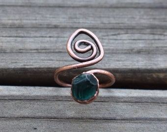 Faceted Fluorite Copper Electroformed Ring. Unique, organic, natural teal green Fluorite ring; fluorite ring with bypass spiral band